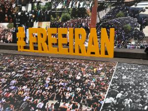 Iranian Americans, member of the organization of Iranian American Communities at New York Rally on September 20, 2017, in front of U.N.
