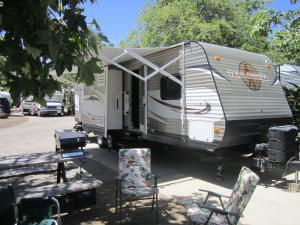 RV Rental set up at Ocean Mesa RV Resort in Santa Barbara, CA