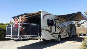 Huntington Beach RV Rental with Girls on Platform