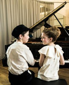 Child prodigies Filip Trifu and Soley Bluml at Steinway&Sons B-211 wearing The Small Gatsby