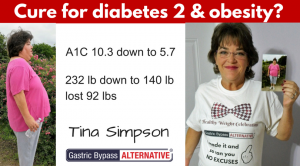 """Tina Simpson feels """"cured"""" from diabetes type 2  & obesity using Don Karl Juravin's Gastric Bypass NO surgery"""