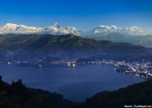 Phewa lake with Annapurna range seen from Pokhara, Nepal