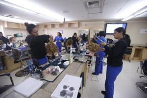 San Jose City College Cosmetology Students in the classroom.
