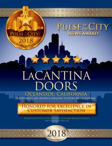 LaCantina Doors San Diego 2018 Pulse of the City News Award