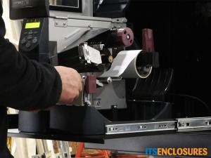 printer enclosure, barcode printer enclosure, zebra printer enclosure, dust proof printer enclosure, NEMA 12 printer enclosure, bar code printer, heated printer enclosure