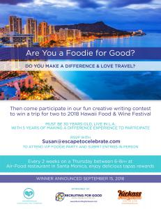 Rewarding Rockstars in Life Fun Creative Writing Contest, Participate to Win a Trip to Hawaii Food and Wine Festival