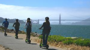 Electric Scooter Tours heading to Golden Gate Bridge from Fisherman's Wharf