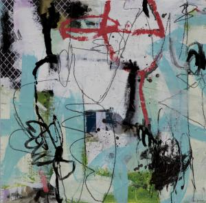 """Bold, energetic, beautiful abstract art by Liese Gauthier from the Plato Series. 24""""x24"""" mixed-media on cradled panel"""