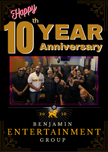 Artists and staff gathering for 10 year anniversary of Benjamin Entertainment Group