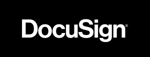 Black background with white text, Docusign