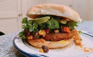 Vegan BBQ Avocado Chili Burger by Ooh La La Vegan
