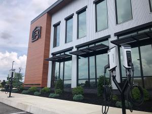 SemaConnect dual pedestal smart Series 6 EV charging stations at Burkentine Builders headquarters in Hanover, Pennsylvania