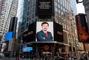 Dr Florian Kongoli featured in New York City Time Square on 7, 10 & 11 Aug 2020, on the occasion of becoming Rio de Janeiro Honorary Citizen
