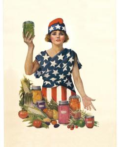 In 1918, Leonebel Jacobs created this illustration to motivate houeholds to preserve the fruits of their labor.
