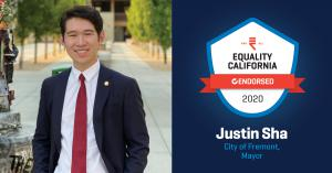 Justin Sha's headshot is shown along with an endorsement logo from Equality California.