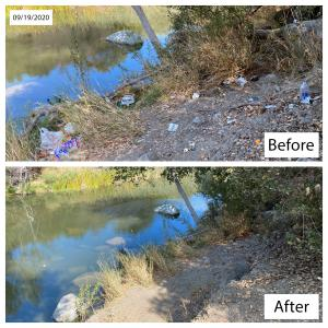 A before and after picture is shown of trash littering the ground and the creek and then cleaned up.
