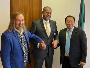 His Excellency Adam Al Mulla, Permanent Delegate Ambassador, His Excellency Thierry Rayer, Ambassador of the World League for the Right to Happiness and and Mr. Bernard Sok