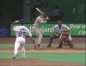 September 28, 1995, Greg A. Harris a right-handed pitcher, threw left-handed to two batters giving him the title of the firstambidextrous pitcherto pitch in a Major League game in more than 100 years.