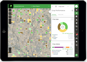 iPad screenshot with FluroSense crop performance dashboard with a regional view