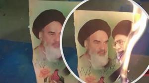 Arak – Torching posters of Khomeini and Khamenei – September 2020