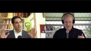 Virtual Keynote Speaker Simerjeet Singh being interviewed by Jim Grisanzio for the Oracle Developers Podcast