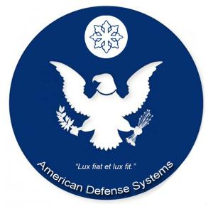 Logo is a dark navy blue circle, with the American eagle, and a rising star.