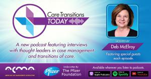 Care Transitions Today Graphic, hosted by Deb McElroy and available on all major podcast platforms.