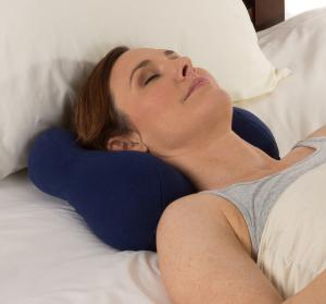 Chiropractic neck pillow for sleeping.  Award-winning design.  People sleep on it and wake up with no neck pain.