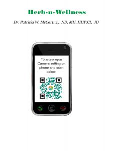 imaage of phone with qr code and Herb-n-Wellness logo