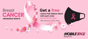 Pink Ribbon Face Masks in Support of Breast Cancer Awareness