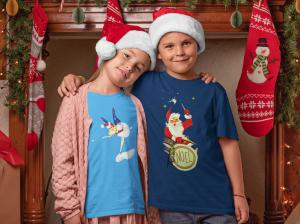 Two kids arm in arm wearing vintage inspired tee shirts.