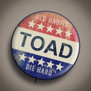 Vintage Vote style pin with TOAD (Toad the Wet Sprocket) band name and Song Title Old Habits Die Hard