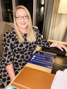 Nichola Venables CEO of NBDB, woman sat at desk