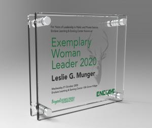 Etched Glass Exemplary Woman Leader 2020 Award to Leslie G. Munger