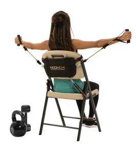 A proven workout system ups the ante on home or office furniture by turning any chair into a gym in seconds.