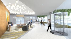 The airy open lobby connects 2401 Cedar Springs with Uptown Dallas.