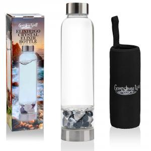 picture of the crystal water bottle, loose tumbled gemstones and neoprene sleeve