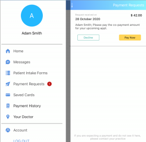 Images of mobile app enabling phone-based payments.