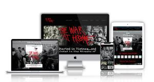A modern and responsive website for The War at Home. This shows the website on a desktop, a laptop, a mobile phone and an iPad.