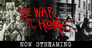 The Facebook post that launched the streaming campaign. It shows protesting students at the University of Wisconsin on the left and the National Guard on the right, highlighting the conflict of the film.