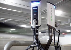SemaConnect dual pedestal smart EV charging stations