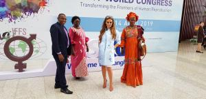 Dr. Rasha Kelej, CEO Merck Foundation & President of Merck More than a Mother with Minister of Health of Uganda, Hon. Sarah Opendi and the Vice President of The Gambia, H. E. Isatou Touray, Minister of Health of Burundi and Vice Minister of Republic of Co